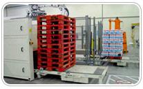 Transportadores de Cadena con dispensador de palets integrado. Haga click para ampliar.