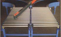 Dos lineas de rodillos convergentes