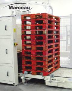 almacen apilador dispensador de pilas de palets